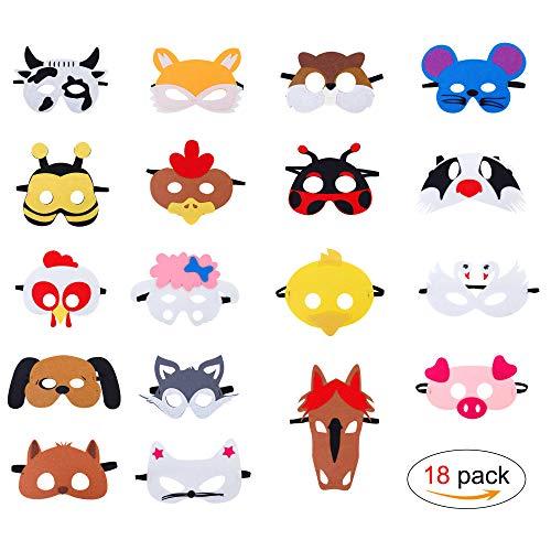 QH-Shop Masken für Kinder Filz Tiermasken Bauernhof-Tiere mit Elastischen Seil für Halloween Weihnachten Geburtstag Bühnenaufführungen Thema Party 18 Stücke (Kinder Bauernhof Tier Kostüm)