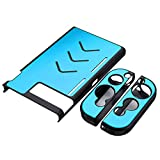 Leoie Hard Aluminum Protective Case Anti-Slip Shockproof Protective Cover for Game Console and Handles Light Blue