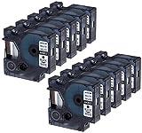 10 Kassetten D1 40913 schwarz auf weiß 9mm x 7m Schriftband kompatibel für DYMO LabelManager LM 100, 110, 120P, 150, 155, 160, 200, 210D, 220P, 260, 260D, 280, 300, 350, 350D, 360D, 400, 420P, 450, 450D, 500TS, PC, PC2, PnP, PnP Wireless, LabelPoint LP 100, 150, 200, 250, 300, 350, LabelWriter LW 400 Duo, 450 Duo Beschriftungsgerät