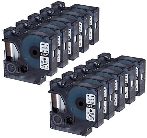 10x Schriftband-Kassetten D1 40913 S0720680 schwarz auf weiß 9mm x 7m kompatibel für DYMO LabelManager LM 160 210D 220P 260P 280 360D 420P 450D 500TS PnP MobileLabeler LabelPoint LabelWriter 450 Duo (Dymo Rhino-etikettendrucker)