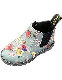 Juleya Niñas Chelsea Boots - Zapatos de cuero de princesa Botas para niñas Zapatos de invierno Retro Zapatos con estampado floral Botas de tobillo Zapatos antideslizantes Negro Gris 21-36