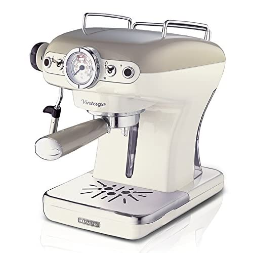 51SqY1nQDDL. SS500  - Ariete 1389/13 Retro Style Espresso Machine and Built in Milk Frother, Barista Coffee Maker Ideal for Americanos, Lattes and Cappuccinos, Filter Holder for Powder or Pods, Beige