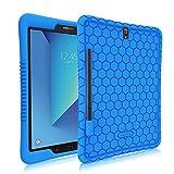 Fintie Silikon Hülle für Samsung Galaxy Tab S3 T820 / T825 24,58 cm (9,68 Zoll) Tablet-PC - [Bienenstock Serie] Leichte Rutschfeste Stoßfeste Schutzhülle Cover Case Tasche mit S Pen Halter, Blau