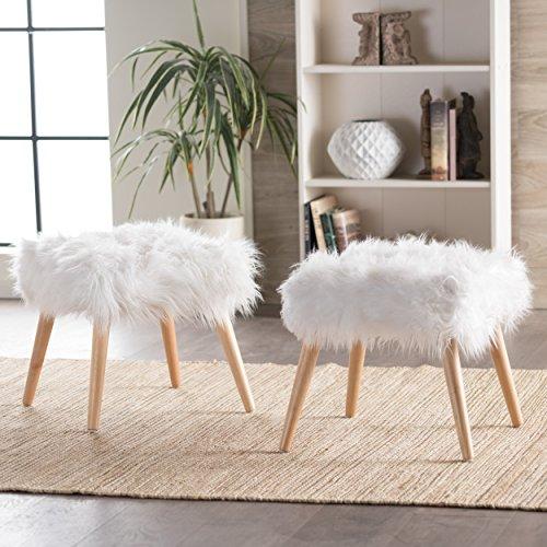 Furniture Creations Koehler Home Decor Fuzzy Ottoman Pouf, Weiß Set of 2 White Ottomans -