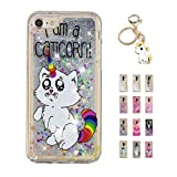 Kawaii-Shop Coque iPhone XR Glitter Liquide, Cute Chat Licorne TPU Silicone Case Scintiller Transparent Antichoc Cristal Cover pour Fille +Porte-clés Licorne
