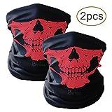 2pcs Traspirante tubi senza saldatura Maschera elastico tubolare Skull maschera di protezione per lo Yoga Escursionismo Equitazione Motociclismo (nero, rosso)