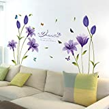 #5: Oren Empower Beautiful Purple Lily Flower Art Large Wall Sticker (Finished size on wall - 160(w) x 85(h) cm)
