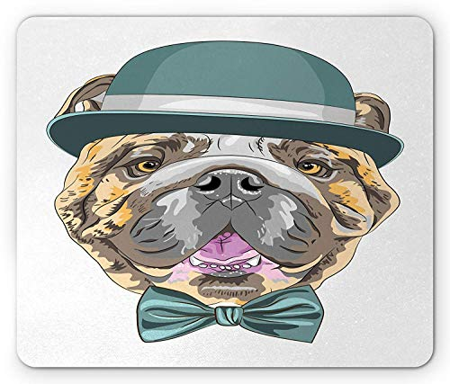 WYICPLO English Bulldog Mouse Pad, Dog in a Hat and Bow Tie Animal Design with Formal Attire Pure Breed, Standard Size Rectangle Non-Slip Rubber Mousepad, Teal Brown Pink Formale Slip