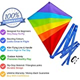 Diamond Kite for Kids - Bright Rainbow Colours - Great for Beginners - Very Easy to Fly - Comes with String and Handle