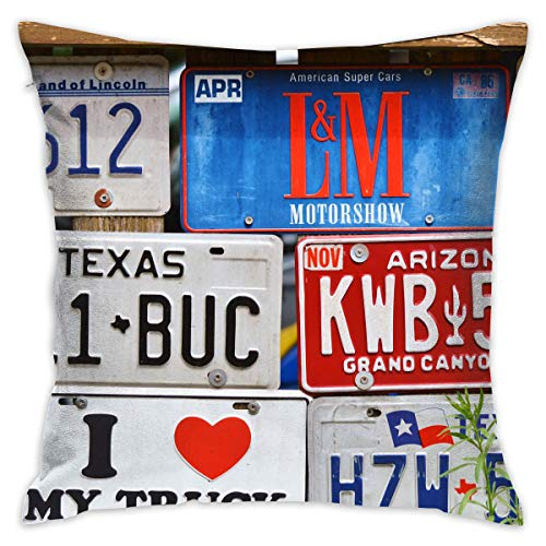 jiger Throw Pillow Cushion Cover,Assorted Car License Plates,Decorative Square Accent Pillow Case, 18X 18 inches