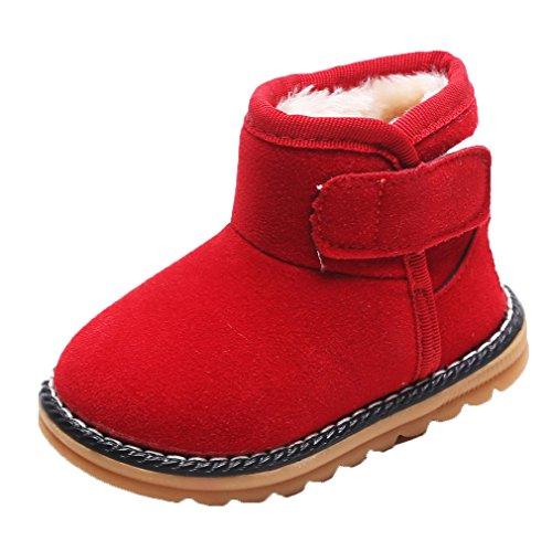 HENGSONG Winter Baby Schuhe Kinder Mädchen Jungen Stiefel Warm Schneestiefel (21, (Rote Kinder Schuhe)