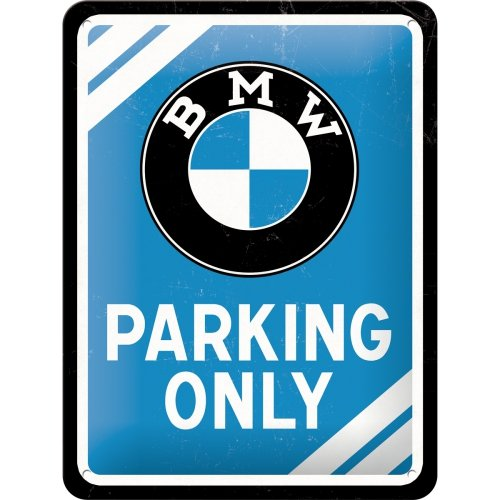 Nostalgic-Art 26177 BMW - Parking Only Blue, Blechschild 15x20 cm