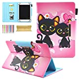 Universal Case for All 9-10 Inch Tablet, Coopts PU Leather Magnetic Kickstand Cover for ipad 9.7 2018 2017,ipad 2/3/4,iPad Air 2 1,Samsung Galaxy Tab E,Tab S3,Tab A,Tab 4,Google Nexus 9, Two Cats