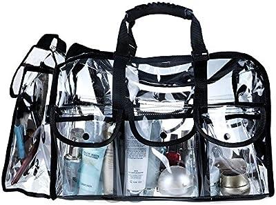 Malayas® Maletín Organizador Maquillaje de PVA Transparente con Correa Ajustable, Bandolera Cosméticos Bolso de Viaje
