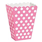 Hot Pink Polka Dot Popcorn Treat Boxes, Pack of 8