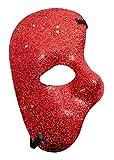 Maschera metà Faccia - Colorata con Glitter - Fantasma dell'opera - Costume - Travestimento - Carnevale - Halloween - Cosplay - Idea Regalo per Natale e Compleanno - Rosso