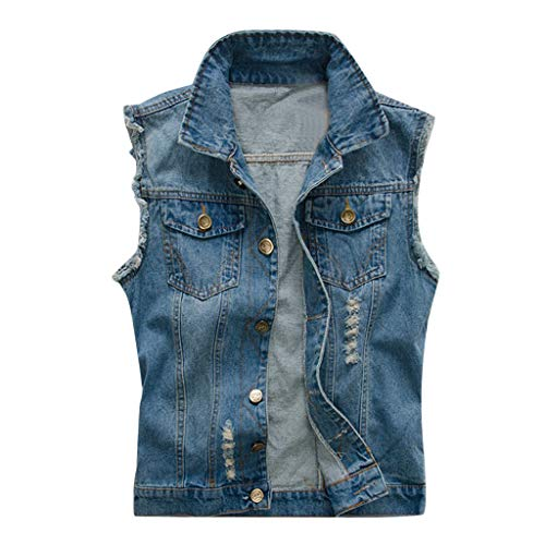 Auied Herren Denim Vest Jacket ärmellose Taschen für Freizeitkleidung Top Bluse -