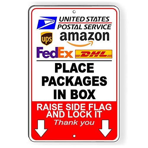 """Dozili Placez Les Colis dans la boîte de Levage FedEx UPS Livraison en métal SiI, Aluminium, 1 Couleur, 8"""" x 12"""""""