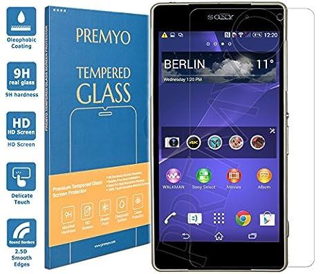 PREMYO verre trempé Sony Xperia Z2. Film protection Xperia Z2 avec un degré de dureté de 9H et des angles arrondis 2,5D. Protection écran Xperia