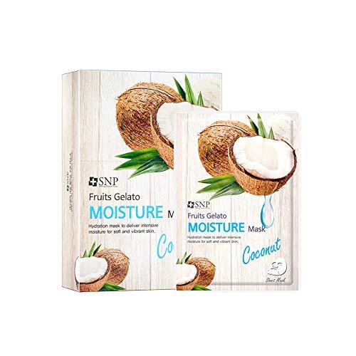Intensiv Feuchtigkeit Maske (SNP Shining Nature Purity Gesichtsmaske von Früchten Gelato Packung mit 10 Feuchtigkeit - Kokosnuss)