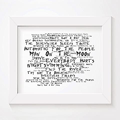 `Noir Paranoiac` Art Print - REM - Automatic for the People - Signed & Numbered Limited Edition Typography Unframed 25 x 20 cm (10 x 8 inch) Album Wall Art Print - Song Lyrics Mini Poster