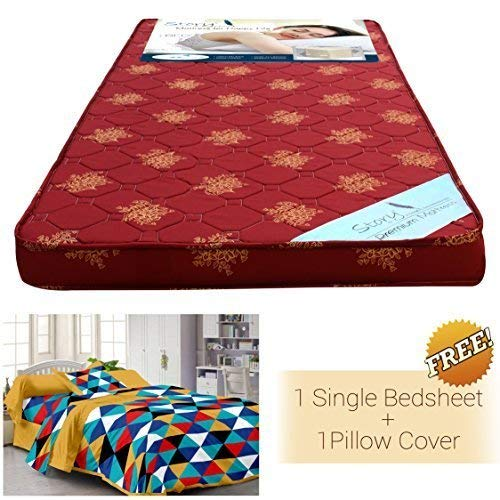 Story@Home Floral Pattern Foam Single Mattress with Cotton Bedsheet with Pillow Covers (72x35x4-inch, Red)