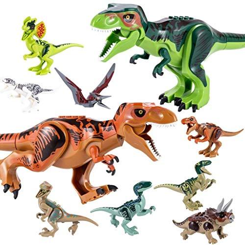 QILICZ 10stk Set Große Tyrannosaurus und klein Dinosaurier Spielzeug, Gelenke Sind beweglich,Welt Dinosaurier Kunststoff Dinosaurier Spielzeug Kindergeburtstag Party Dekoration ungiftig Kinder sicher -