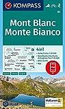Mont Blanc, Monte Bianco: 4in1 Wanderkarte 1:50000 mit Aktiv Guide und Detailkarten inklusive Karte zur offline Verwendung in der KOMPASS-App. Fahrradfahren. Skitouren. (KOMPASS-Wanderkarten, Band 85) -