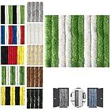 Flauschvorhang 100x200cm Insektenschutz Campingvorhang in Verschiedenen Farben, Auswahl: Unistreifen Grün - Weiß