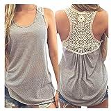 Feitong Damen T-Shirt Women Summer Lace Vest Top Short Sleeve Blouse Casual Tank Tops T-Shirt(EU-36/CN-M, Grau)