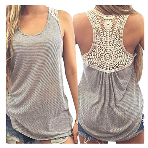Feitong Damen T-Shirt Women Summer Lace Vest Top Short Sleeve Blouse Casual Tank Tops T-Shirt(EU-36/CN-M, Grau)