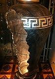 Medusa Barvitrine Bar Vitrine Amphore Medusa Vase mit Licht Mäander Bodenvase Glasregal Silber /// 6851 K76 Regal mit Styl