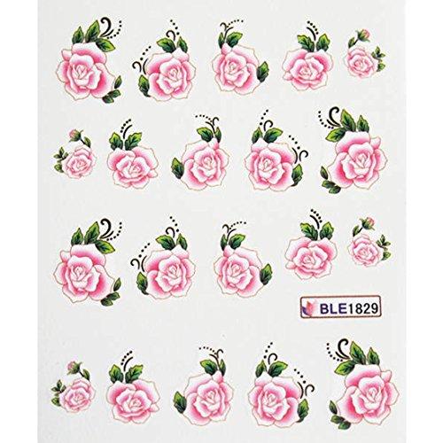 Rebe Rose Nail Art Wasser Decals 1 Blatt Pfingstrose Lily Nails Accessoires Blume Serie Wassertransfer Aufkleber Pretty BLE