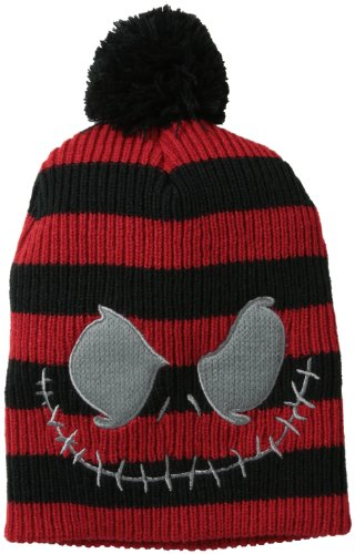 Nightmare Before Christmas Striped Black/Red Pom Beanie Hat