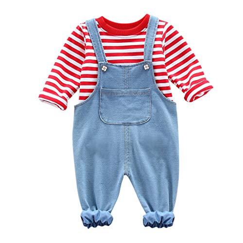Deloito Kleinkind Baby Kleidung Set Baby Junge Mädchen Langarm Blusen Trägerhose Strampler Kinder Gestreift T-Shirt Tops + Denim Hosen Latz Outfit-Set (Rot,110/[3-4 Jahre]) -