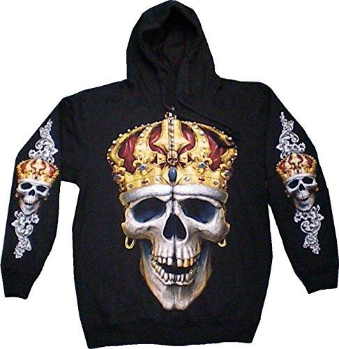 Damen Pullover Biker Punk Kaputzen Biker Jacke S-XL black Sherpa Hoodie Sweatshirt Kaputzen Pulli #34 (Känguru Kostüm Mit Tasche)