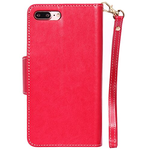 Custodia Apple iPhone 7 Plus, ISAKEN iPhone 7 Plus Flip Cover con Strap, Elegante Sbalzato Embossed Design in Pelle Sintetica Ecopelle PU Case Cover Protettiva Flip Portafoglio Case Cover Protezione C ragazza: rossa