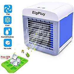 Portable Refroidisseur D'air 4 en 1 Petit Climatiseur portatif, USB de bureau Ventilateur, Mini Refroidisseur D'air Evaporatif avec Humidificateur et Purificateur pour Maison/Bureau/Camping
