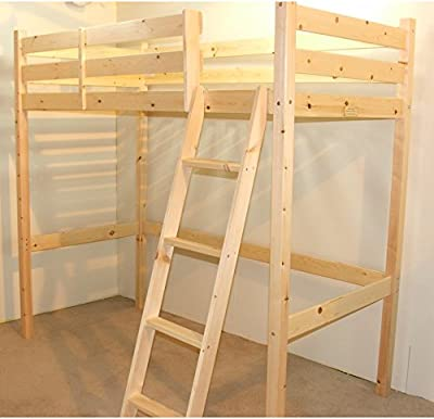 Loft Bunk Bed - 3ft single wooden high sleeper bunkbed - Ladder can go left or right - CAN BE USED BY ADULTS - inexpensive UK light store.