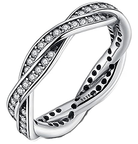 SaySure- Silver Plated SILVER RING with Clear CZ Twist (SIZE : 8)