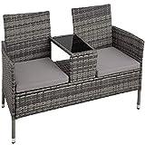 TecTake 403223 Polyrattan Gartensitzbank mit Tisch, 2-Sitzer, für Garten, Balkon und Terrasse, Füße aus Kunststoff, Gartenbank inkl. Sitzkissen, grau