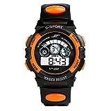 DAY.LIN Uhr Herren Uhren Herrenuhr Sportuhr armbanduhr herren Wasserdicht Herren Jungen Digital LED Quarz Alarm Datum Sport-Armbanduhr (Orange)