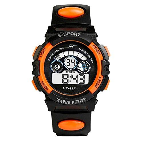 Uhr Herren Uhren Herrenuhr Sportuhr armbanduhr herren DAY.LIN Wasserdicht Herren Jungen Digital LED Quarz Alarm Datum Sport-Armbanduhr (Orange)