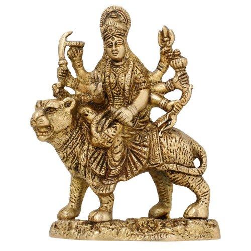 Durga Hindu Göttin Religiöse Statue Messing - Outdoor-löwen-statuen