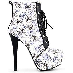 Show Story Sexy floral negro gótico de encaje plataforma Stiletto talón tobillo, lf80837, color azul
