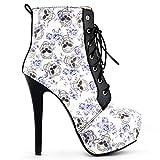 Show Story Sexy calavera Floral negro gótico de encaje plataforma Stiletto talón tobillo botas, lf80837, color Azul, talla 36.5