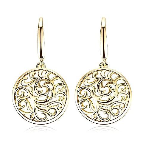FJYOURIA Women's Charm Flower Pattern Drop Hook Earrings Nature Jewellery