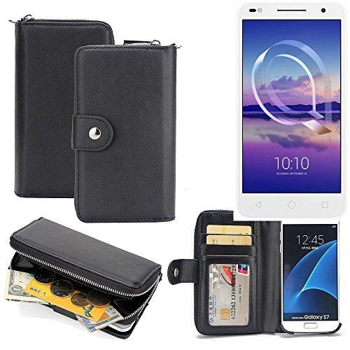 K-S-Trade 2in1 Handyhülle für Alcatel U5 HD Dual SIM hochwertige Schutzhülle & Portemonnee Tasche Handytasche Etui Geldbörse Wallet Case Hülle schwarz