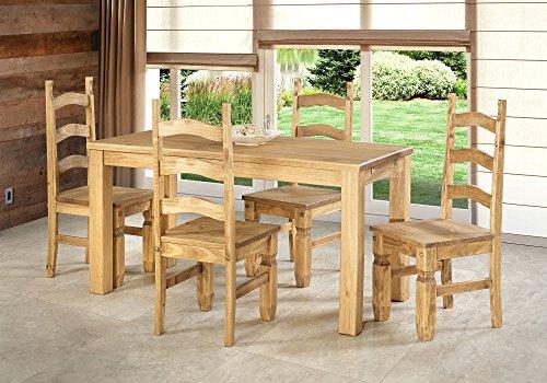 Sitzgruppe Garnitur mit Esstisch 120x73cm + 4 Stühle Mexico Holz Pinie massiv in Brasil