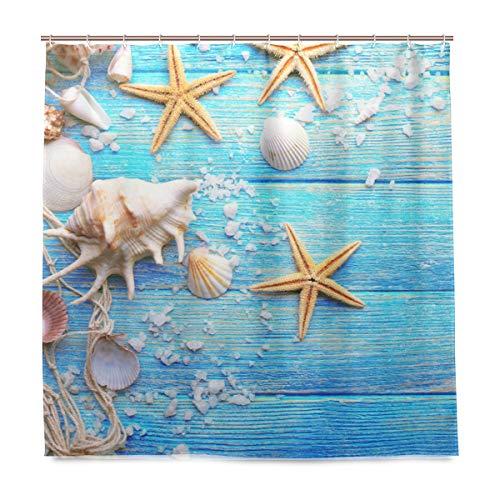 vinlin Meer Seestern Seashell Wasserdicht Badezimmer Zubehör Vorhang für die Dusche Badewanne Vorhang 182,9x 182,9cm